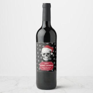 Étiquette Pour Bouteilles De Vin Crâne grunge Père Noël