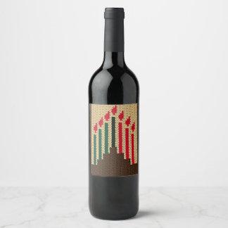 Étiquette Pour Bouteilles De Vin Crochet de bougies de Kwanzaa sur l'étiquette de