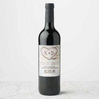 Étiquette Pour Bouteilles De Vin Découpage de coeur rustique d'écorce de bouleau