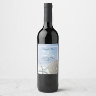 Étiquette Pour Bouteilles De Vin Dollar de sable et plage d'étoiles de mer