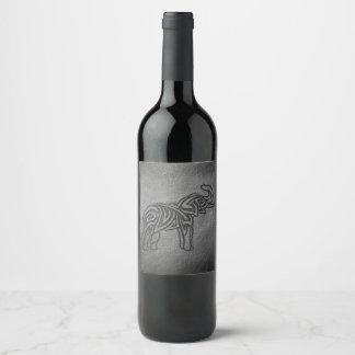 Étiquette Pour Bouteilles De Vin Éléphant tribal en cuir