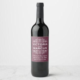 Étiquette Pour Bouteilles De Vin Faveur rouge de bouteille de vin de mariage de