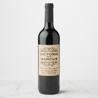 Étiquette Pour Bouteilles De Vin Faveur vintage de bouteille de vin de mariage