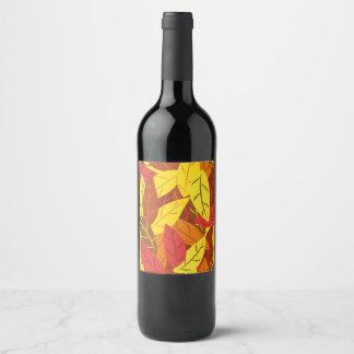 Étiquette Pour Bouteilles De Vin Feuille chaud coloré par motif d'automne