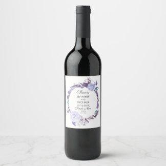 Étiquette Pour Bouteilles De Vin Feuille pourpre de rose floral épousant