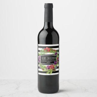 Étiquette Pour Bouteilles De Vin Fleurs et rayures d'aquarelle