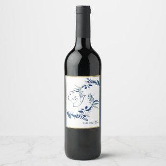 Étiquette Pour Bouteilles De Vin Floral élégant avec le bleu et le mariage coloré