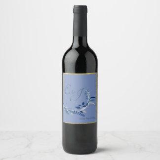 Étiquette Pour Bouteilles De Vin Floral élégant avec le bleu et l'or a coloré le