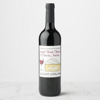 Étiquette Pour Bouteilles De Vin Fromage en verre de brie merlot d'échantillon de