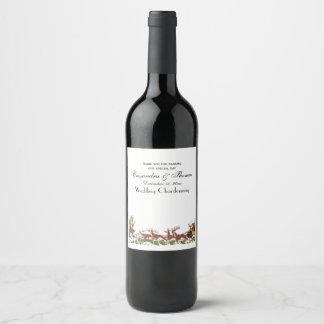 Étiquette Pour Bouteilles De Vin Frontière de renne de Noël Père Noël Sleigh de