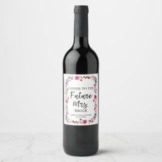 Étiquette Pour Bouteilles De Vin Future Mme Bridal Shower de guirlande romantique