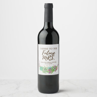 Étiquette Pour Bouteilles De Vin Future Mme succulente florale rustique Bridal