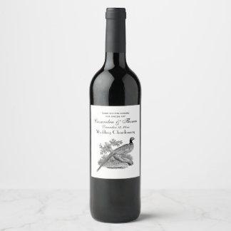 Étiquette Pour Bouteilles De Vin Gibier à plumes vintage de faisan dessinant BW
