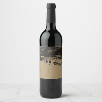 Étiquette Pour Bouteilles De Vin Grunge boueuse de voie de course de chevaux