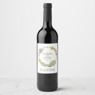 Étiquette Pour Bouteilles De Vin Guirlande des Succulents, des brindilles et des