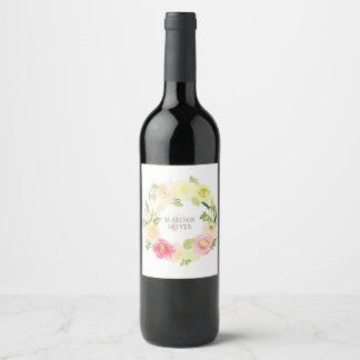 Étiquette Pour Bouteilles De Vin Guirlande florale | d'aquarelle rose et jaune