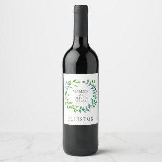 Étiquette Pour Bouteilles De Vin Guirlande verte | de feuille d'aquarelle épousant
