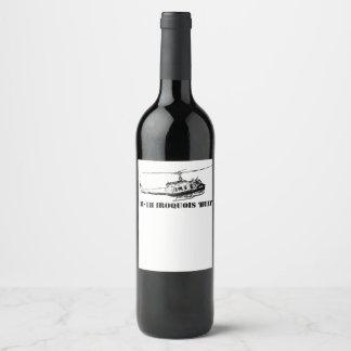 Étiquette Pour Bouteilles De Vin Hélicoptère d'Iroquois du vin UH-1H