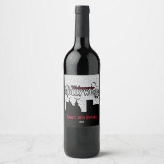 Étiquette Pour Bouteilles De Vin Hollywood fascinant avec le scintillement argenté