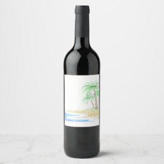 Étiquette Pour Bouteilles De Vin Île tropicale illustrée avec des villes de la