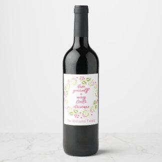 Étiquette Pour Bouteilles De Vin Joyeuse petite guirlande de fleur de Noël
