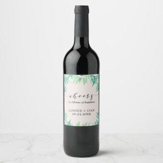 Étiquette Pour Bouteilles De Vin La guirlande botanique de verdure et fleurit