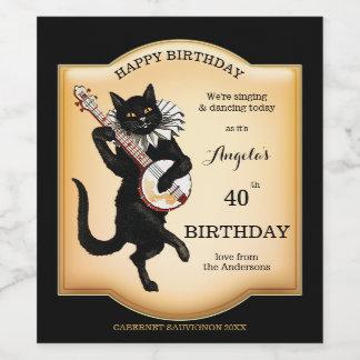 Étiquette Pour Bouteilles De Vin Le chat noir vintage a personnalisé l'étiquette de