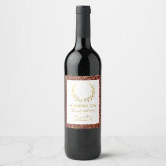 Étiquette Pour Bouteilles De Vin Le jour de mère floral de guirlande d'or élégant