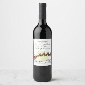 Étiquette Pour Bouteilles De Vin Le renne de Père Noël au-dessus de la neige a