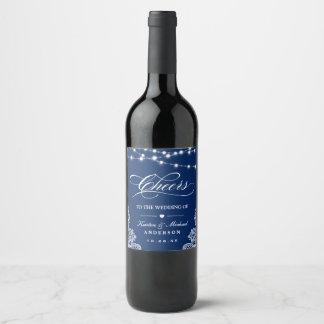 Étiquette Pour Bouteilles De Vin Les acclamations à la ficelle de bleu marine de
