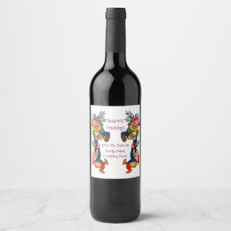 Étiquette Pour Bouteilles De Vin Les elfes occupés de Père Noël de Family or