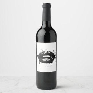 Étiquette Pour Bouteilles De Vin Maquilleur élégant de baiser de mode de lèvres