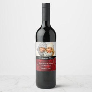 Étiquette Pour Bouteilles De Vin Mariage de Noël, rouge élégant, photo faite sur
