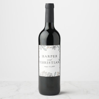 Étiquette Pour Bouteilles De Vin Mariage floral sensible