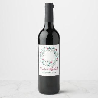 Étiquette Pour Bouteilles De Vin Mariage personnalisé par | floral rustique de