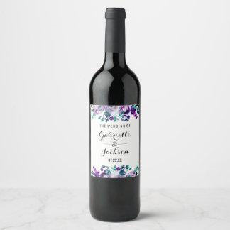 Étiquette Pour Bouteilles De Vin Menthe et monogramme floral pourpre de mariage
