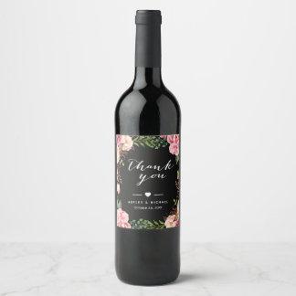 Étiquette Pour Bouteilles De Vin Merci de emballage floral rose chic de mariage
