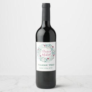 Étiquette Pour Bouteilles De Vin Merci floral rustique | de la guirlande | épousant