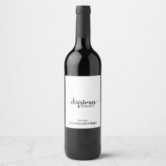 Étiquette Pour Bouteilles De Vin Noël noir et blanc simple de calligraphie