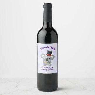 Étiquette Pour Bouteilles De Vin Ours de koala de Merci de marié avec le calembour