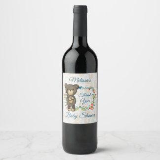 Étiquette Pour Bouteilles De Vin Ours mignon et mercis floraux de baby shower de