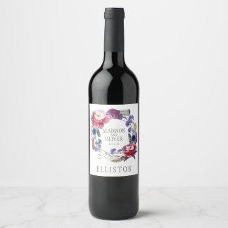 Étiquette Pour Bouteilles De Vin Pivoine de fleur sauvage florale avec des plumes |