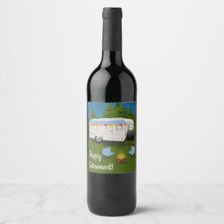 Étiquette Pour Bouteilles De Vin Retraite heureuse ! Campeur de rv en bois