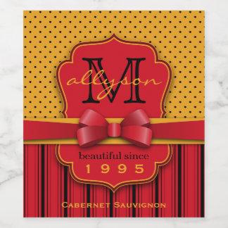 Étiquette Pour Bouteilles De Vin Rétros rayures jaunes de rouge de point de polka