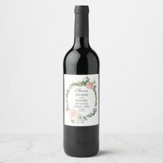 Étiquette Pour Bouteilles De Vin Roses floraux et la verdure tressent l'étiquette