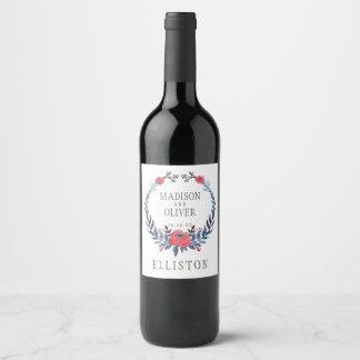 Étiquette Pour Bouteilles De Vin Roses rouges d'aquarelle florale de Boho |