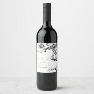 Étiquette Pour Bouteilles De Vin Squelette vintage de lézard
