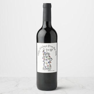 Étiquette Pour Bouteilles De Vin Statue des lumières de Noël de liberté bonnes