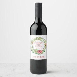 Étiquette Pour Bouteilles De Vin Succulent vert et rose floral vintage | épousant