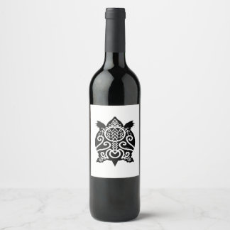 Étiquette Pour Bouteilles De Vin Tortue noire de cordelette de silhouette